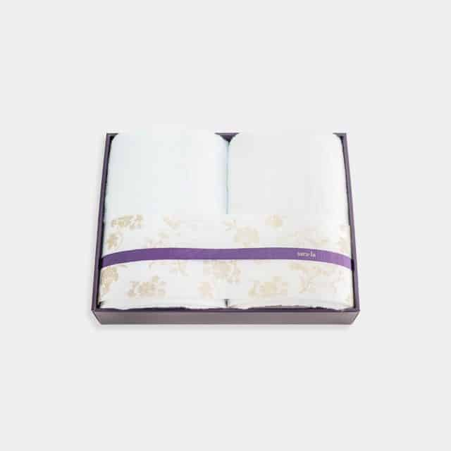 【今治タオル】sara-la「彩-irodori-」バスタオル2枚セット (ブルー・ホワイト)