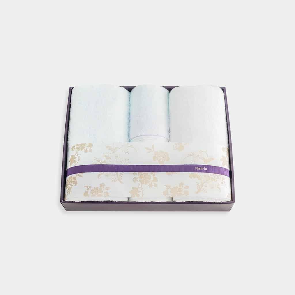 【今治タオル】sara-la「彩-irodori-」バスタオル2枚とフェイスタオル2枚セット (ブルー・ホワイト)