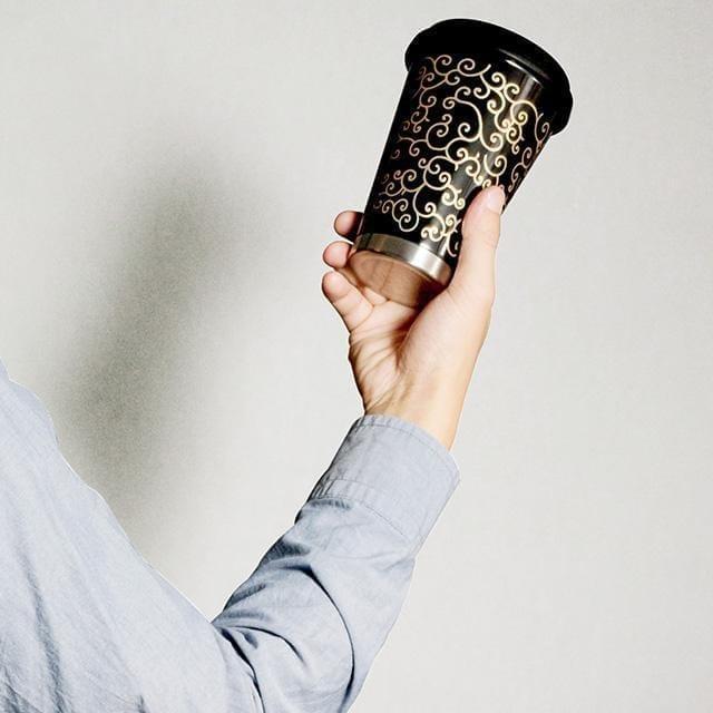 【越前漆器】thermo mug × 土直漆器 うるしモバイルタンブラー 鳥獣戯画 (ブラック)