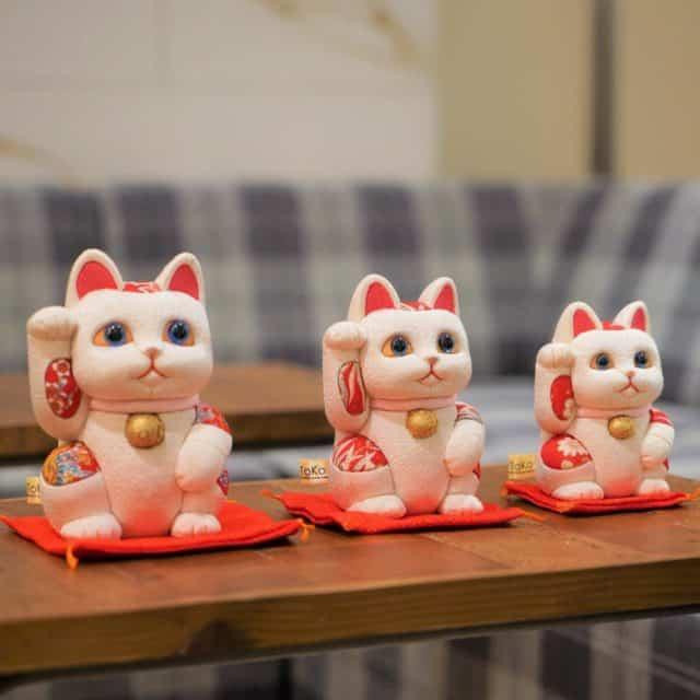 【江戸木目込み】柿沼人形 招き猫 風水 (白) 無垢 リラックス