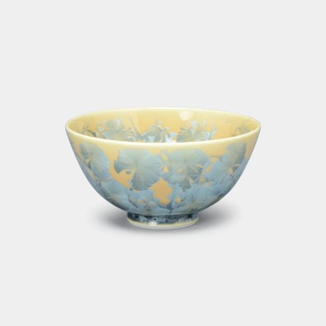 【京焼-清水焼】陶葊 花結晶 (灰青) 茶碗