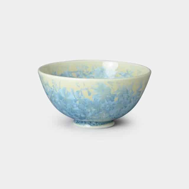 【京焼-清水焼】陶葊 花結晶 (縹) 茶碗