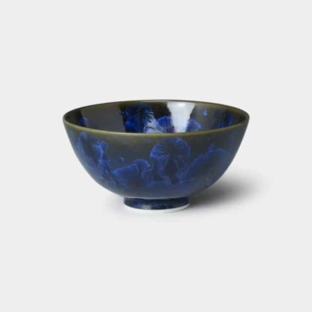 【京焼-清水焼】陶葊 花結晶 (青墨) 茶碗