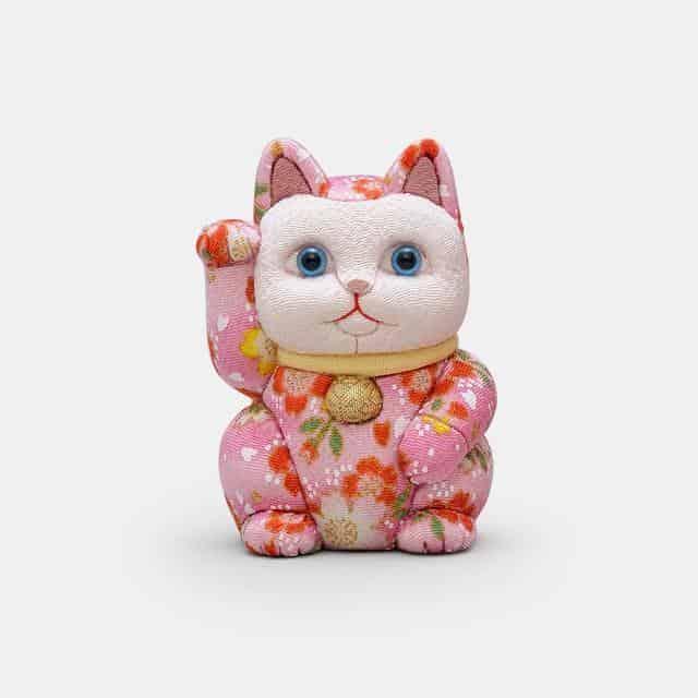 【江戸木目込み】柿沼人形 招き猫 友禅桃