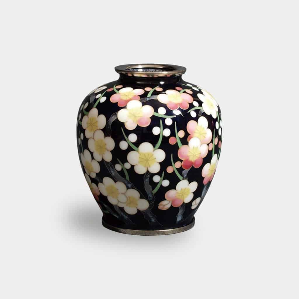 【尾張七宝】加藤七宝製作所 有線花瓶 3玉形 黒透 梅詰 花瓶