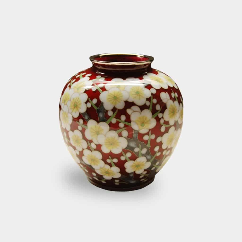 【尾張七宝】加藤七宝製作所 有線花瓶 3玉形 赤透 梅詰 花瓶