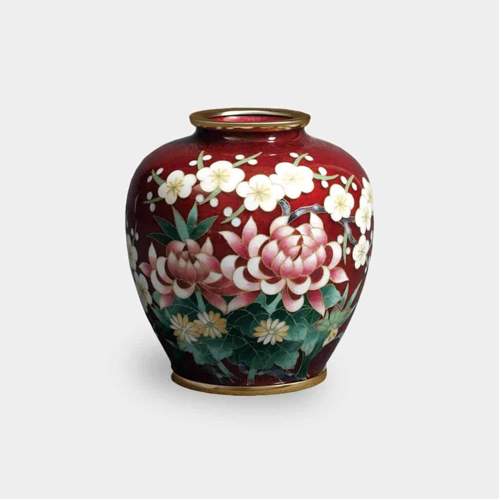 【尾張七宝】加藤七宝製作所 有線花瓶 3玉形 赤透 四君子 花瓶