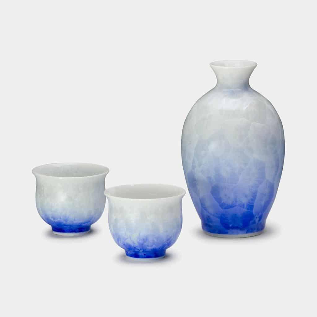 【京焼-清水焼】陶葊 花結晶 (白地青) 酒器 (3点セット)