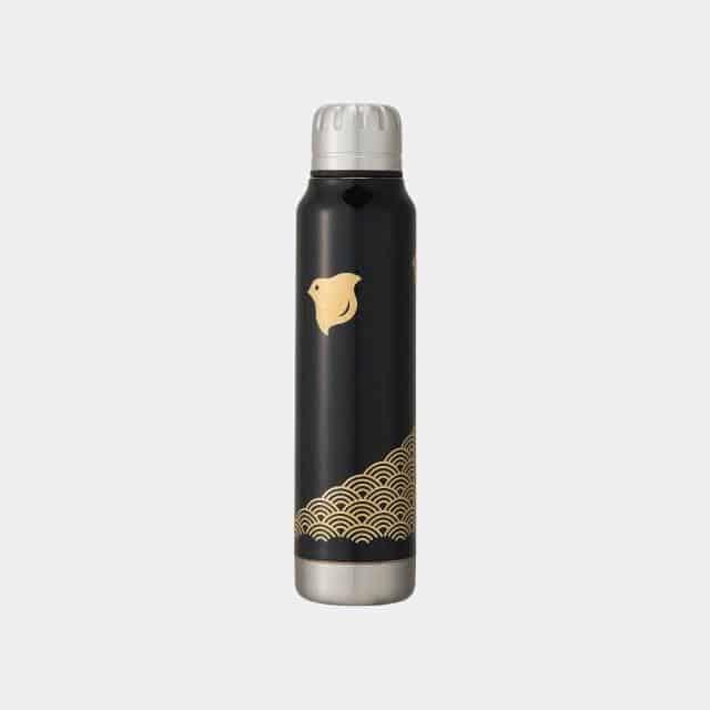 【越前漆器】thermo mug × 土直漆器 うるしアンブレラボトル 波千鳥 (ブラック)