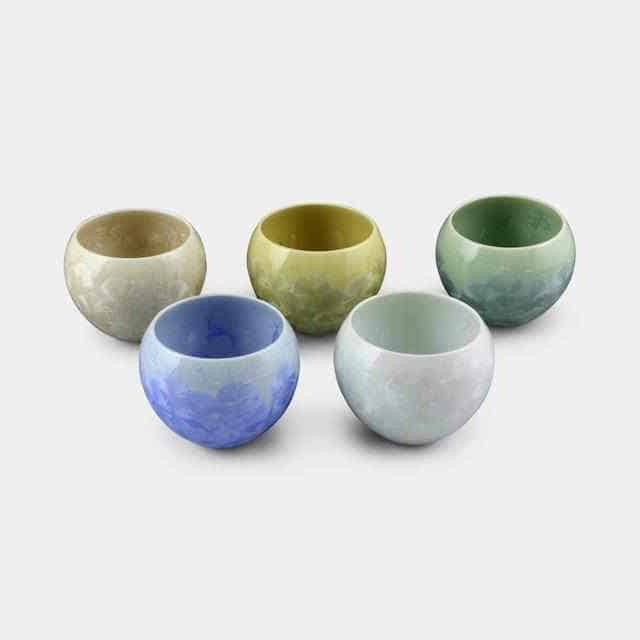【京焼-清水焼】陶葊 花結晶 お茶吞み茶碗 (5点セット)