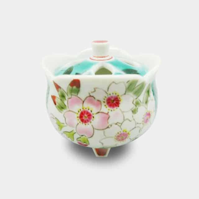 【九谷焼】川田稔 豆香炉 桜図