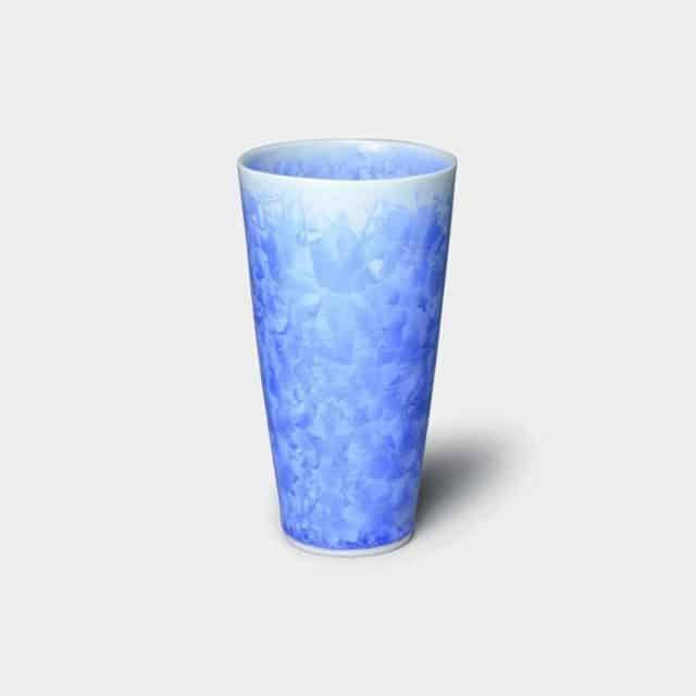 【京焼-清水焼】陶葊 花結晶 (青) ビールタンブラー