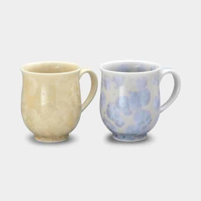 【京焼-清水焼】陶葊 花結晶 (銀花 金花) マグカップ (2点セット)
