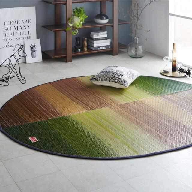 【い草-畳】イケヒコ い草ラグ デニムFジョイ 緑 (楕円:190×210cm)