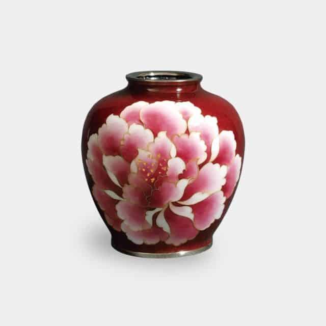 【尾張七宝】加藤七宝製作所 有線花瓶 3玉形 赤透 牡丹 花瓶