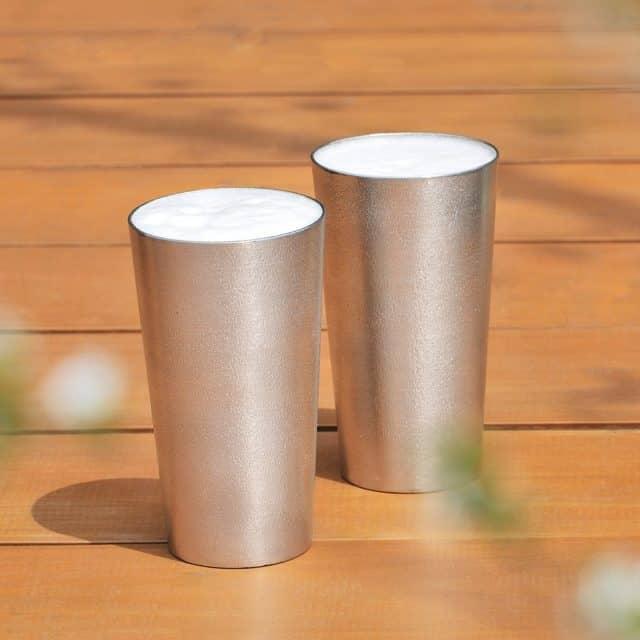 熱伝導率が高い錫製の「ビアカップ2個セット」