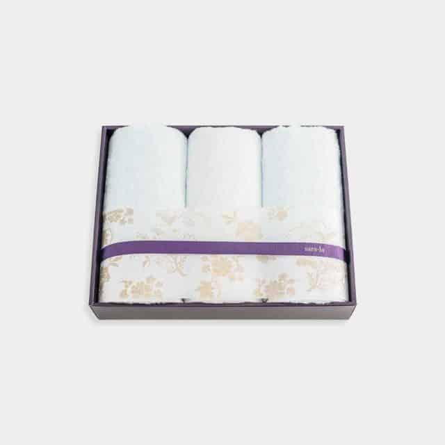 【今治タオル】sara-la「彩-irodori-」フェイスタオル3枚セット (ブルー・ホワイト)