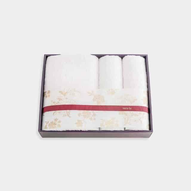 【今治タオル】sara-la「彩-irodori-」バスタオル1枚とフェイスタオル2枚セット (ピンク・ホワイト)