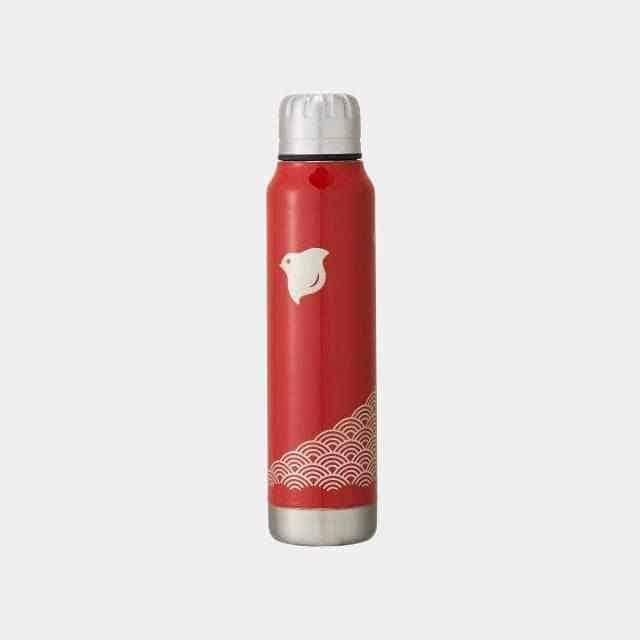 【越前漆器】thermo mug × 土直漆器 うるしアンブレラボトル 波千鳥 (レッド)