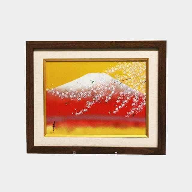 【有田焼】中村一代 陶額 赤富士 桜
