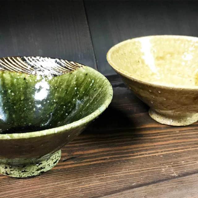 【瀬戸焼】うつわ魯庵 織部黄瀬戸ペア平茶碗