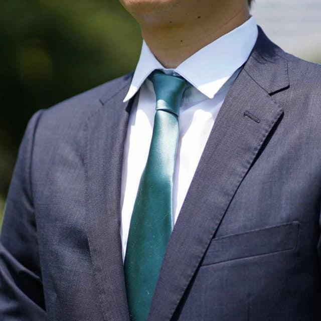 【郡内織物】富士桜工房 ネクタイ セラドングリーン 雅 33匁シルクサテン