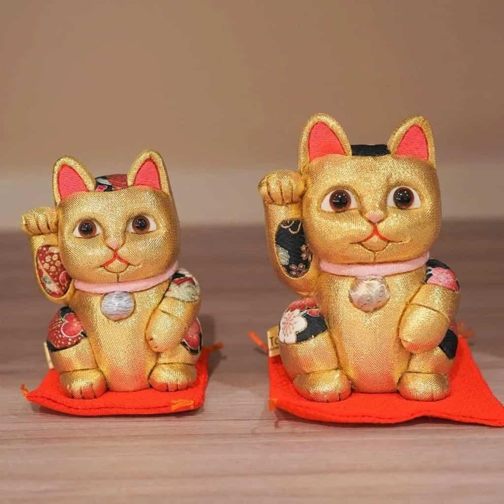 【江戸木目込み】柿沼人形 招き猫 風水 (金) 金運