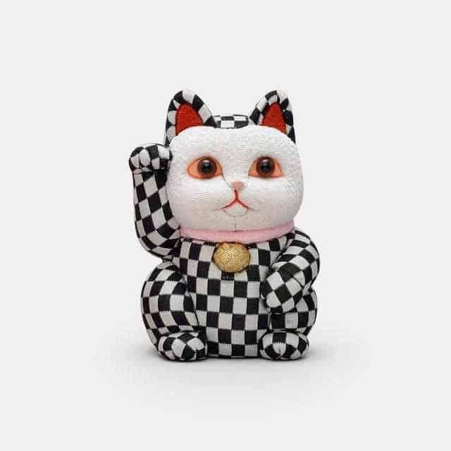 【江戸木目込み】柿沼人形 招き猫 市松柄