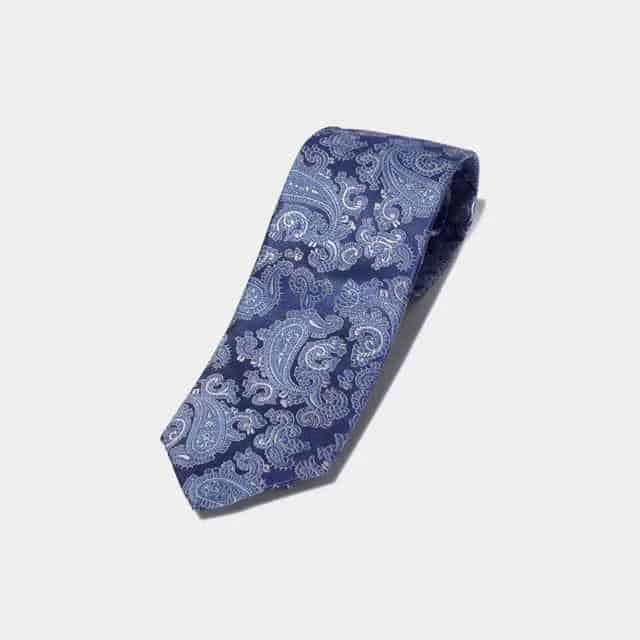 【甲斐絹】SHAKUNONE (笏本縫製) ネクタイ ペイズリー (ライトブルー)