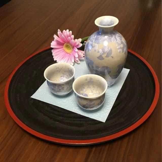 【京焼-清水焼】陶葊 花結晶 (銀藤) とっくり (3点セット)