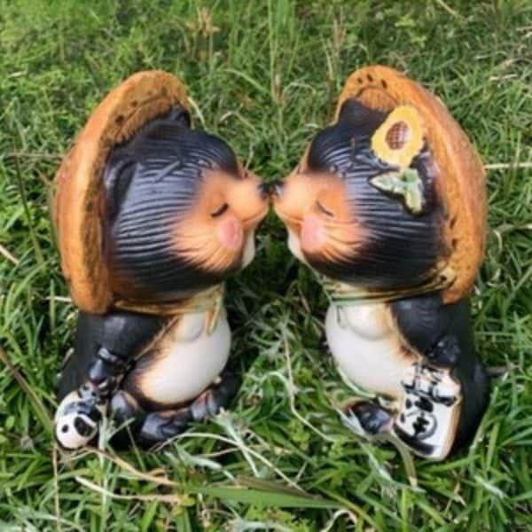ラブラブ狸の置物の写真